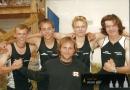 Mistři ČR dorostu 2006 - štafeta 4x 100m - Petružálek, Černohorský, Vostřel a Zajíček s trenérem Perunem