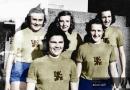 Železničářky Hradec Králové – rok 1946. Nahoře zleva Irena Pulkertová, Eva Zámostná a Jiřina Divecká. Dole zleva Jarmila Vaňková a Hana Marešová.