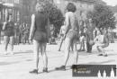Propagační zápas na tehdejším Gottwaldové náměstí-1950-Tamara střílí trestný hod